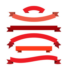 red ribbons set vector image