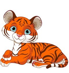 Resting little tiger cub vector
