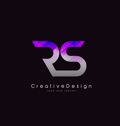 Rs letter logo design purple texture creative vector