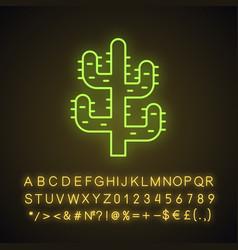saguaro cactus neon light icon vector image