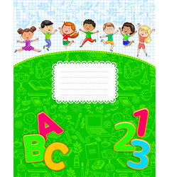 School notebook with cute funny kids jumping vector