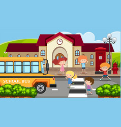 school scene with children and school bus vector image