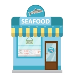 Seafood shop building showcase icon flat vector