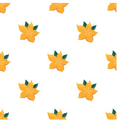 Seamless pattern with bright yellow starfruit vector