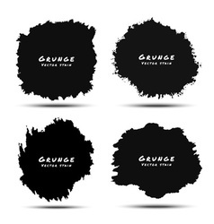 set black watercolor grunge splatters vector image