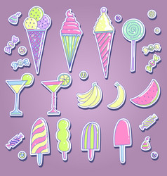 Set of different kinds of sweets vector