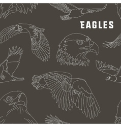 Set of eagles pattern vector image