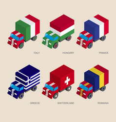 set of isometric 3d cargo vector image