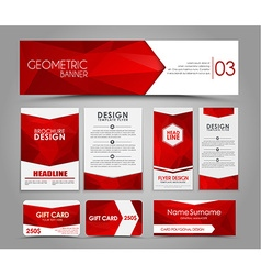 Set of red corporate style polygonal vector
