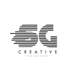 Sg s g zebra letter logo design with black and vector