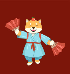 Shiba inu dog in a blue kimono with fans vector