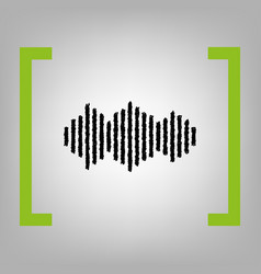 sound waves icon black scribble icon in vector image