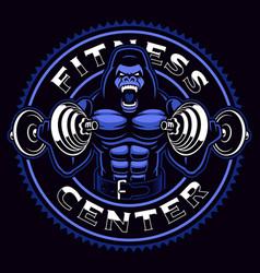 Sport mascot a gorilla bodybuilder vector
