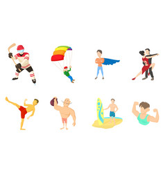 Sportsmen icon set cartoon style vector