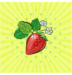 Strawberry pop art fruits with vector