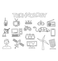 technology elements hand drawn set vector image