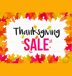 thnaksgiving autumn sale text poster for vector image