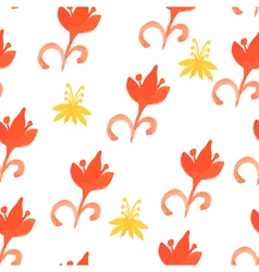 Tribal red seamless pattern with trees Seamless vector image