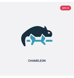 Two color chameleon icon from animals concept vector