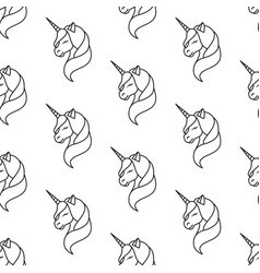 unicorn line pattern seamless vector image
