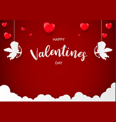 valentines day banner template pink heart with vector image