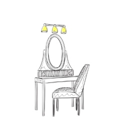 Vanity table and folding chair vector