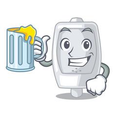 With juice urinal in the a cartoon bathroom vector