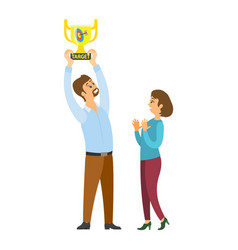 woman and man holding target award golden cup vector image
