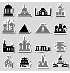 world religions types of temples stickers eps10 vector image