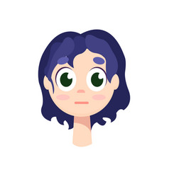 young girl with big green eyes and purple hair vector image