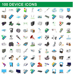 100 device icons set cartoon style vector image