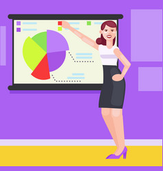 a woman in the office shows charts and diagrams vector image vector image