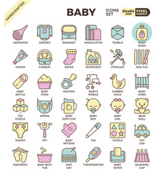 baby outline icons vector image
