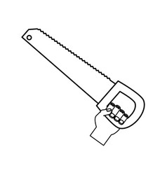 hand with saw vector image