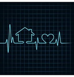 Heartbeat make a home and heart icon vector image vector image
