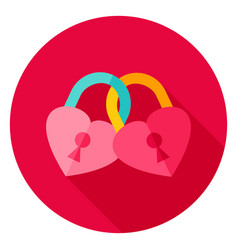 hearts padlock circle icon vector image vector image