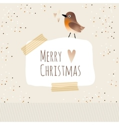 Cute christmas greeting card with bird vector image vector image