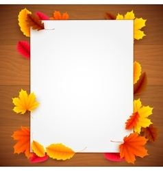 Paper List on Autumn Background vector image vector image