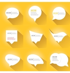 white cut paper speech bubbles on orange vector image vector image