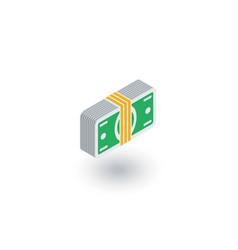 banking money bundle dollar banknotes isometric vector image