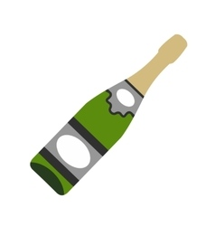 Bottle of champagne flat icon vector image