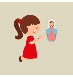 Cartoon girl praying with holy bible design vector