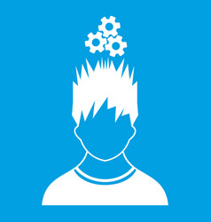 man with metal gears over head icon white vector image vector image
