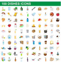 100 dishes icons set cartoon style vector