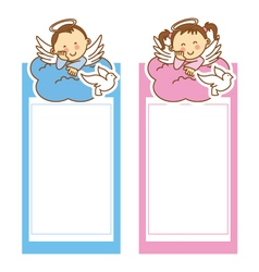 christening girl and boy vector image vector image