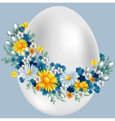 easter egg in a wreath of flowers vintage style vector image