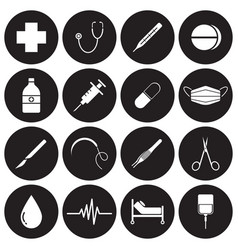 medical icons white on black circles vector image vector image