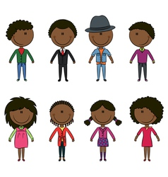 Modern elegant African-American young people vector image