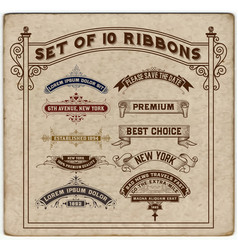 set of 10 ribbons vector image