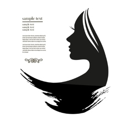 silhouette of a young woman with long hair vector image